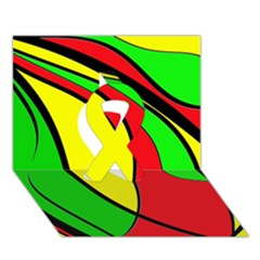 Colors Of Jamaica Ribbon 3D Greeting Card (7x5)