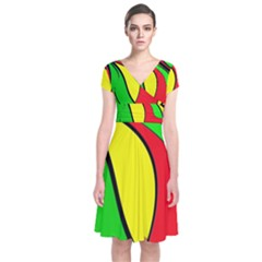 Colors Of Jamaica Short Sleeve Front Wrap Dress