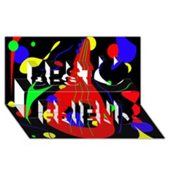 Abstract guitar  Best Friends 3D Greeting Card (8x4)