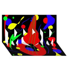 Abstract guitar  MOM 3D Greeting Card (8x4)