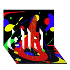 Abstract Guitar  Girl 3d Greeting Card (7x5)