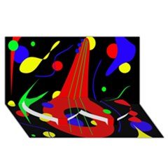 Abstract guitar  Twin Heart Bottom 3D Greeting Card (8x4)
