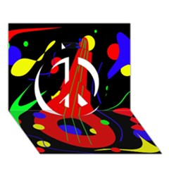 Abstract guitar  Peace Sign 3D Greeting Card (7x5)