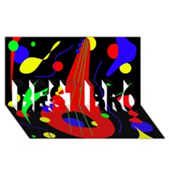 Abstract guitar  BEST BRO 3D Greeting Card (8x4)