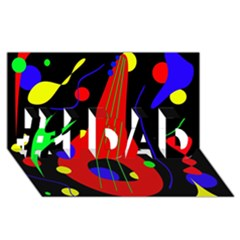 Abstract guitar  #1 DAD 3D Greeting Card (8x4)