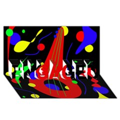 Abstract guitar  ENGAGED 3D Greeting Card (8x4)
