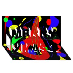 Abstract guitar  Merry Xmas 3D Greeting Card (8x4)