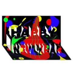Abstract Guitar  Happy New Year 3d Greeting Card (8x4)