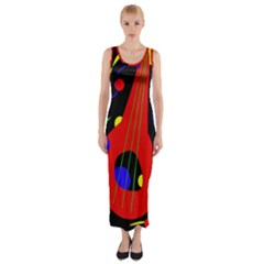 Abstract guitar  Fitted Maxi Dress