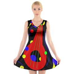 Abstract guitar  V-Neck Sleeveless Skater Dress