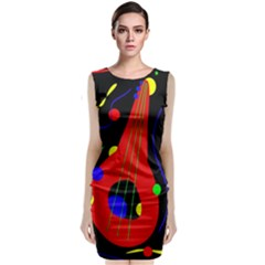 Abstract Guitar  Classic Sleeveless Midi Dress