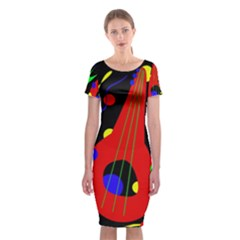 Abstract Guitar  Classic Short Sleeve Midi Dress
