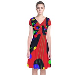 Abstract Guitar  Short Sleeve Front Wrap Dress