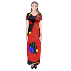 Abstract Guitar  Short Sleeve Maxi Dress