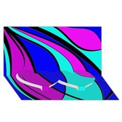 Purple and Blue Twin Heart Bottom 3D Greeting Card (8x4)