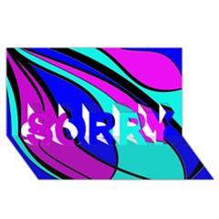 Purple and Blue SORRY 3D Greeting Card (8x4)