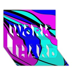 Purple and Blue WORK HARD 3D Greeting Card (7x5)