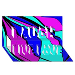 Purple And Blue Laugh Live Love 3d Greeting Card (8x4)