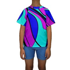 Purple and Blue Kid s Short Sleeve Swimwear