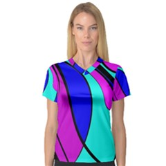 Purple and Blue Women s V-Neck Sport Mesh Tee
