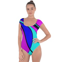 Purple and Blue Short Sleeve Leotard