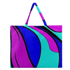 Purple and Blue Zipper Large Tote Bag