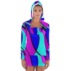 Purple And Blue Women s Long Sleeve Hooded T Shirt