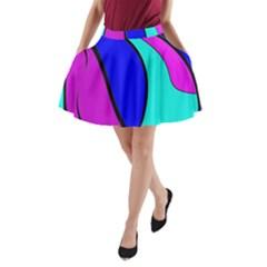 Purple And Blue A Line Pocket Skirt