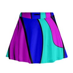 Purple And Blue Mini Flare Skirt