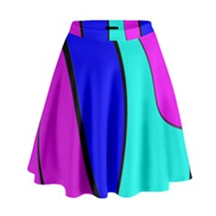 Purple And Blue High Waist Skirt