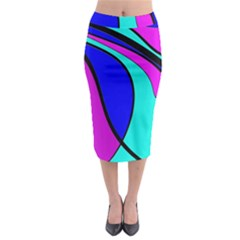 Purple And Blue Midi Pencil Skirt