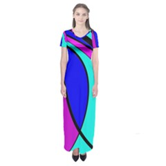 Purple And Blue Short Sleeve Maxi Dress