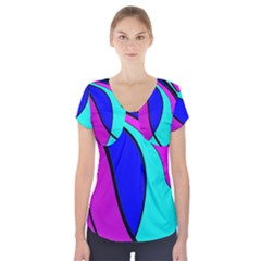 Purple And Blue Short Sleeve Front Detail Top