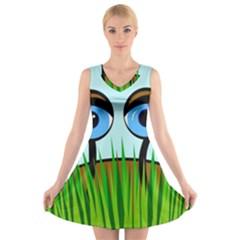 Snail V-Neck Sleeveless Skater Dress