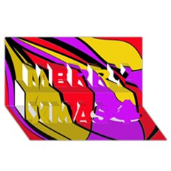 Colorful lines Merry Xmas 3D Greeting Card (8x4)