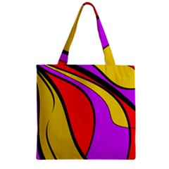 Colorful lines Zipper Grocery Tote Bag