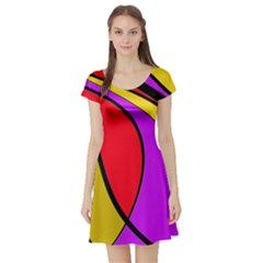 Colorful lines Short Sleeve Skater Dress