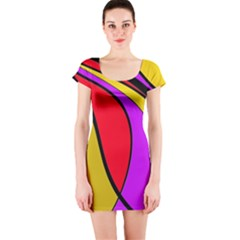 Colorful lines Short Sleeve Bodycon Dress