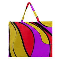Colorful lines Zipper Large Tote Bag