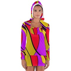 Colorful lines Women s Long Sleeve Hooded T-shirt