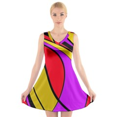 Colorful lines V-Neck Sleeveless Skater Dress