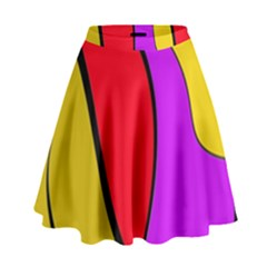 Colorful lines High Waist Skirt