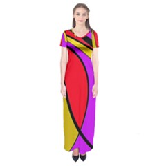Colorful Lines Short Sleeve Maxi Dress