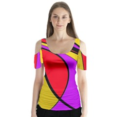 Colorful lines Butterfly Sleeve Cutout Tee