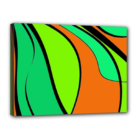 Green and orange Canvas 16  x 12