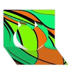 Green and orange Heart 3D Greeting Card (7x5)