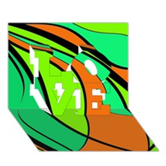 Green and orange LOVE 3D Greeting Card (7x5)