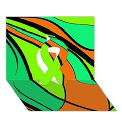 Green and orange Ribbon 3D Greeting Card (7x5)