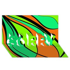 Green and orange SORRY 3D Greeting Card (8x4)