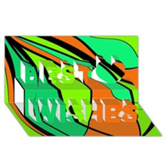 Green and orange Best Wish 3D Greeting Card (8x4)
